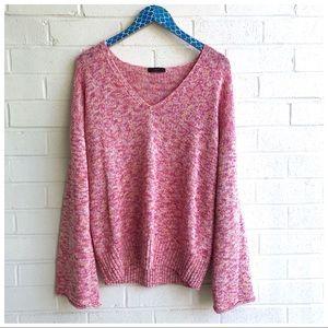 J. Crew Bell Sleeve Pink Marled Swing Sweater